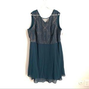 Maya Brooke teal party dress size 24W